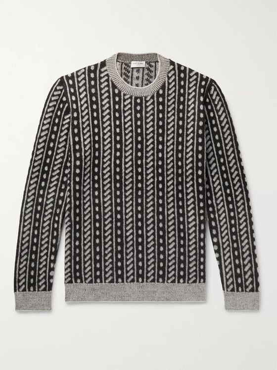 SAINT LAURENT Wool-Blend Jacquard Sweater