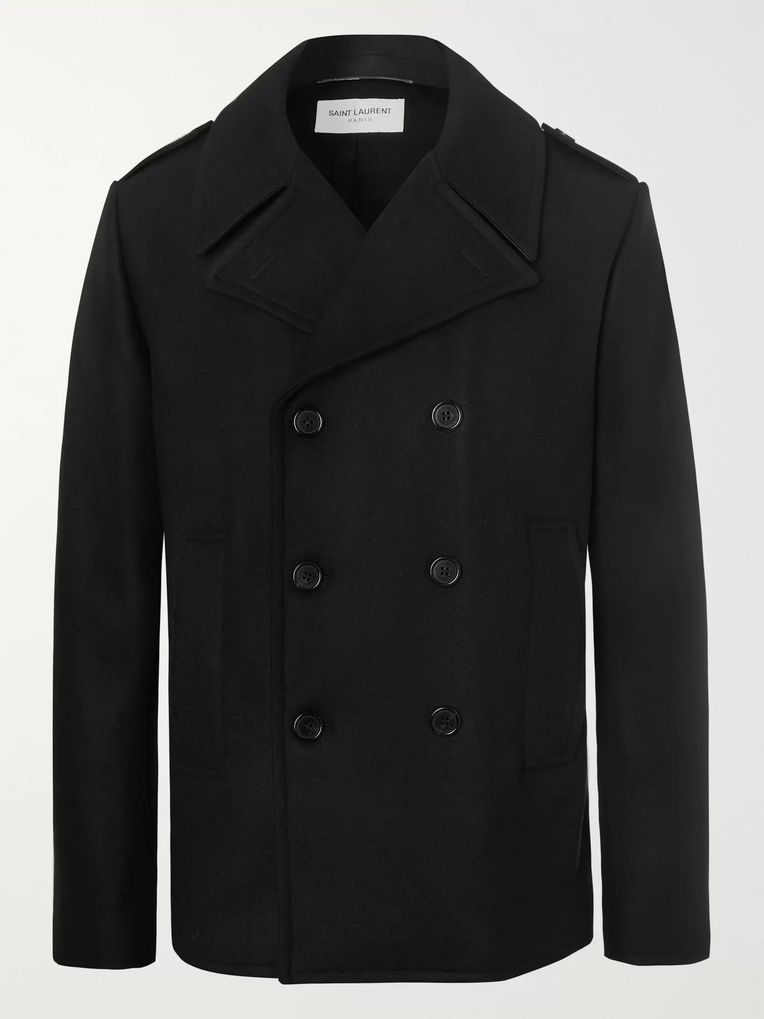 SAINT LAURENT Leather-Trimmed Double-Breasted Virgin Wool Peacoat