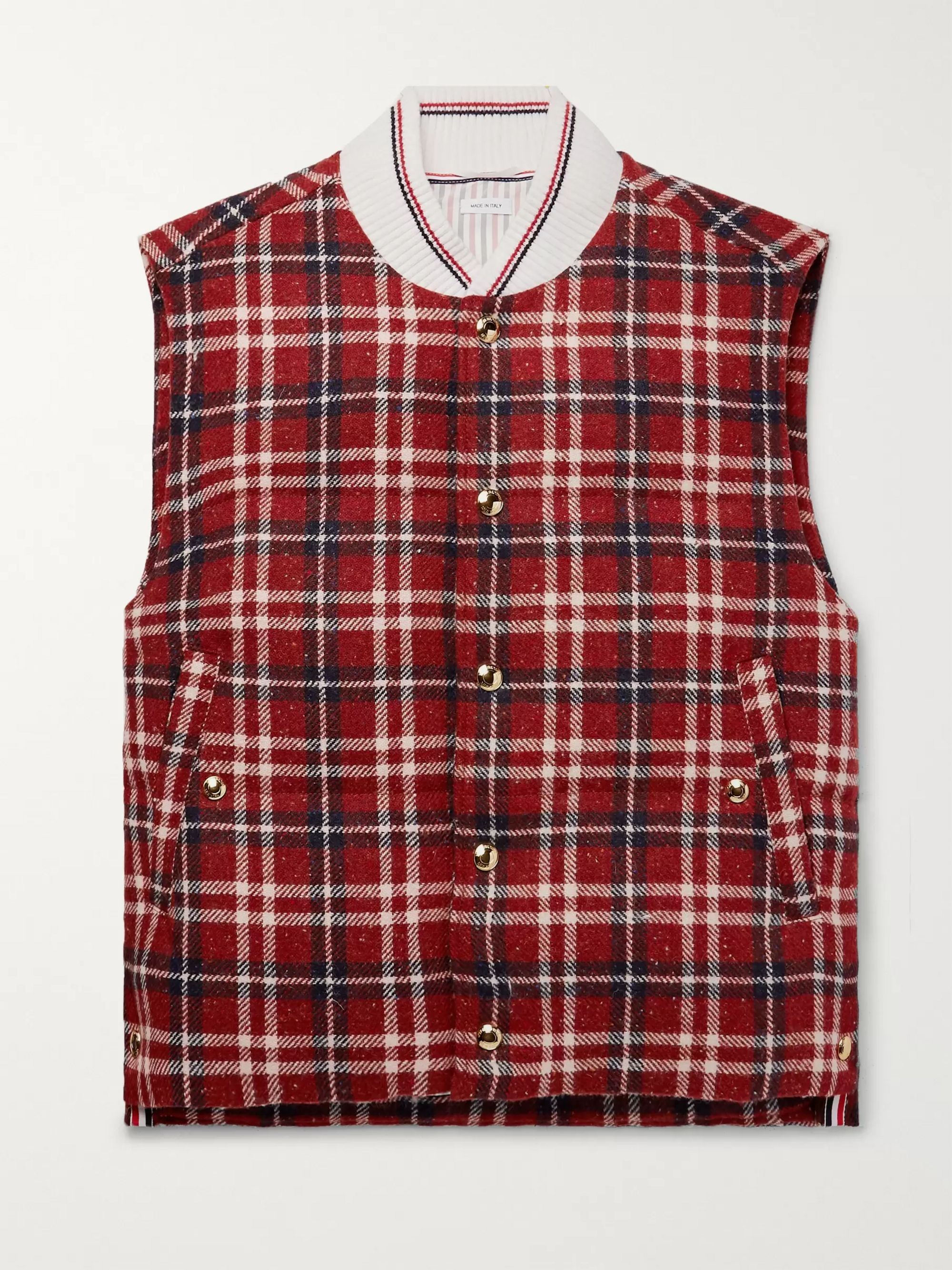 Thom Browne Checked Donegal Wool Down Gilet