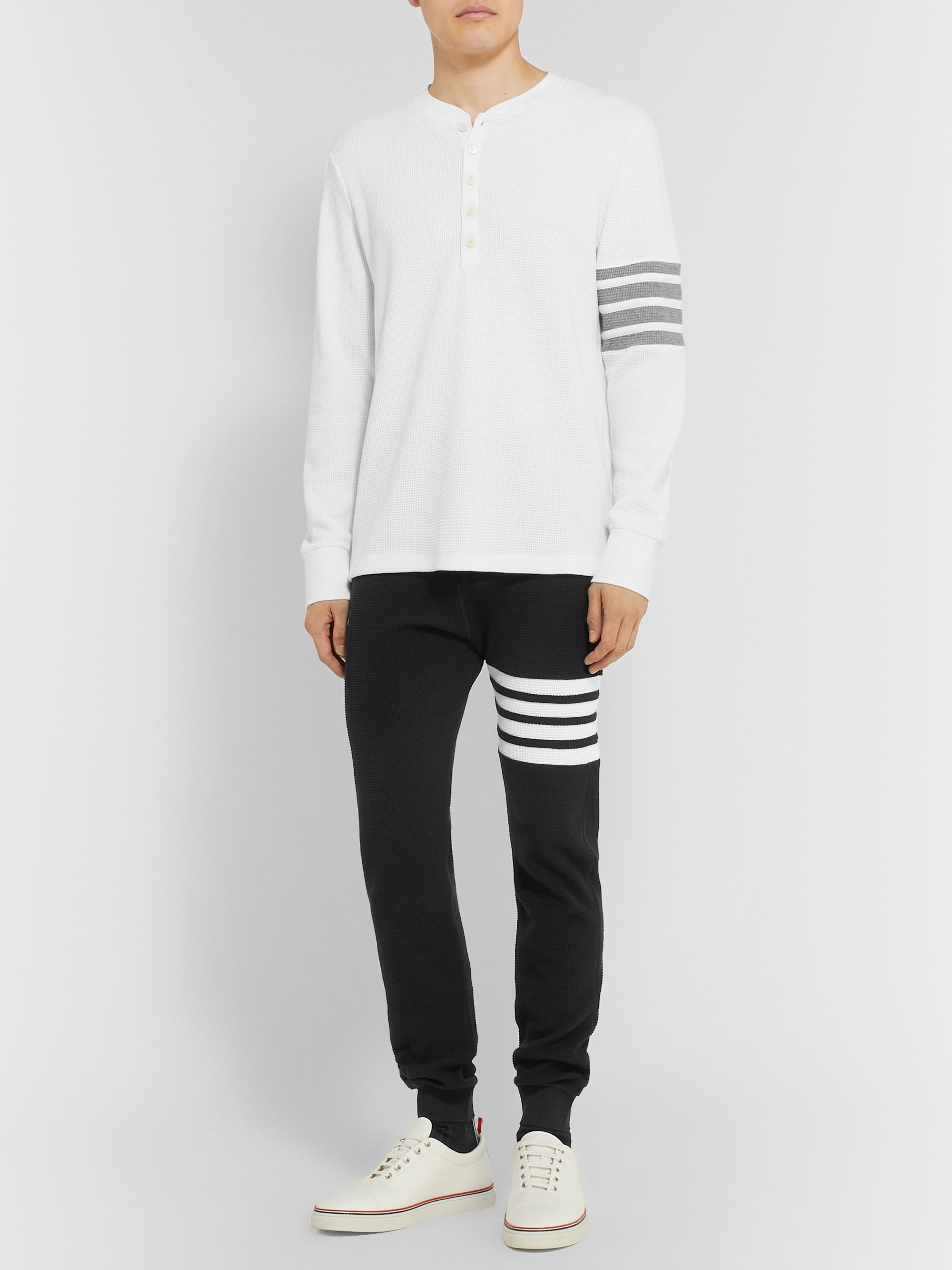 Thom Browne Striped Waffle-Knit Cotton Henley T-Shirt