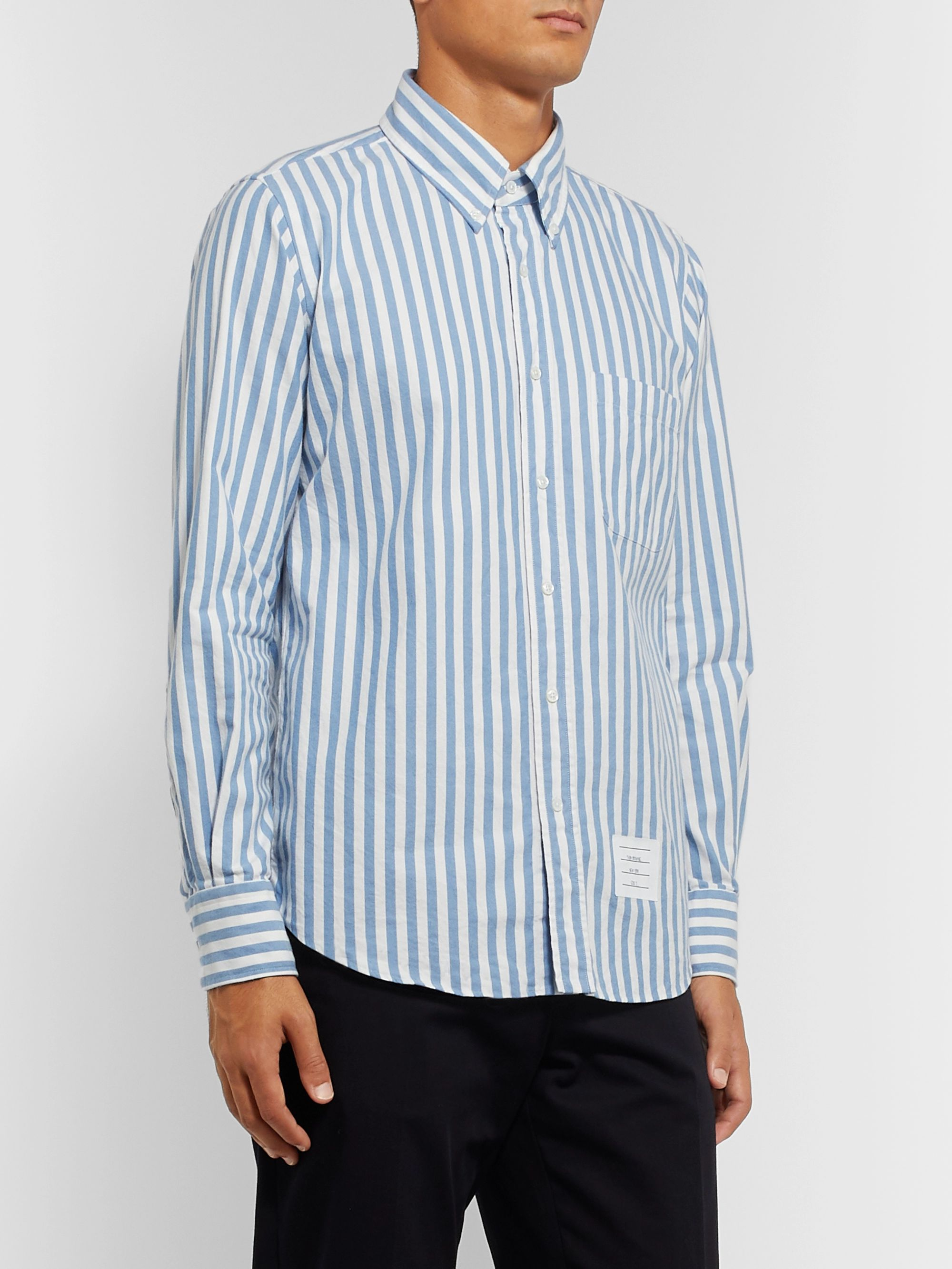 Thom Browne Button-Down Collar Striped Herringbone Cotton-Flannel Shirt