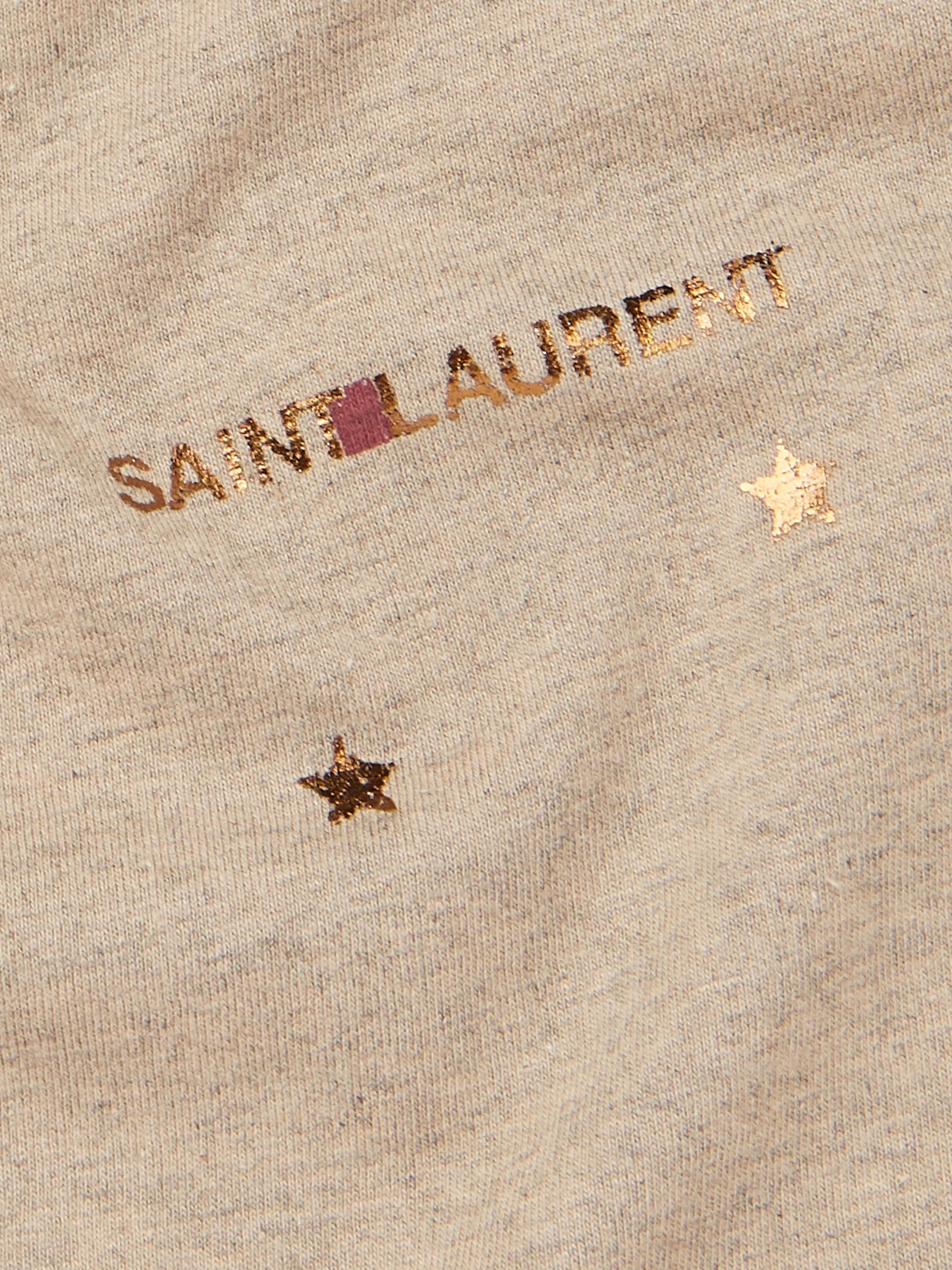 SAINT LAURENT Logo-Print Mélange Cotton-Blend Jersey T-Shirt