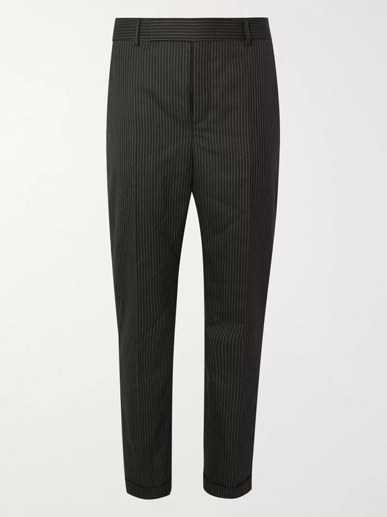 SAINT LAURENT Black Slim-Fit Pinstriped Wool Trousers