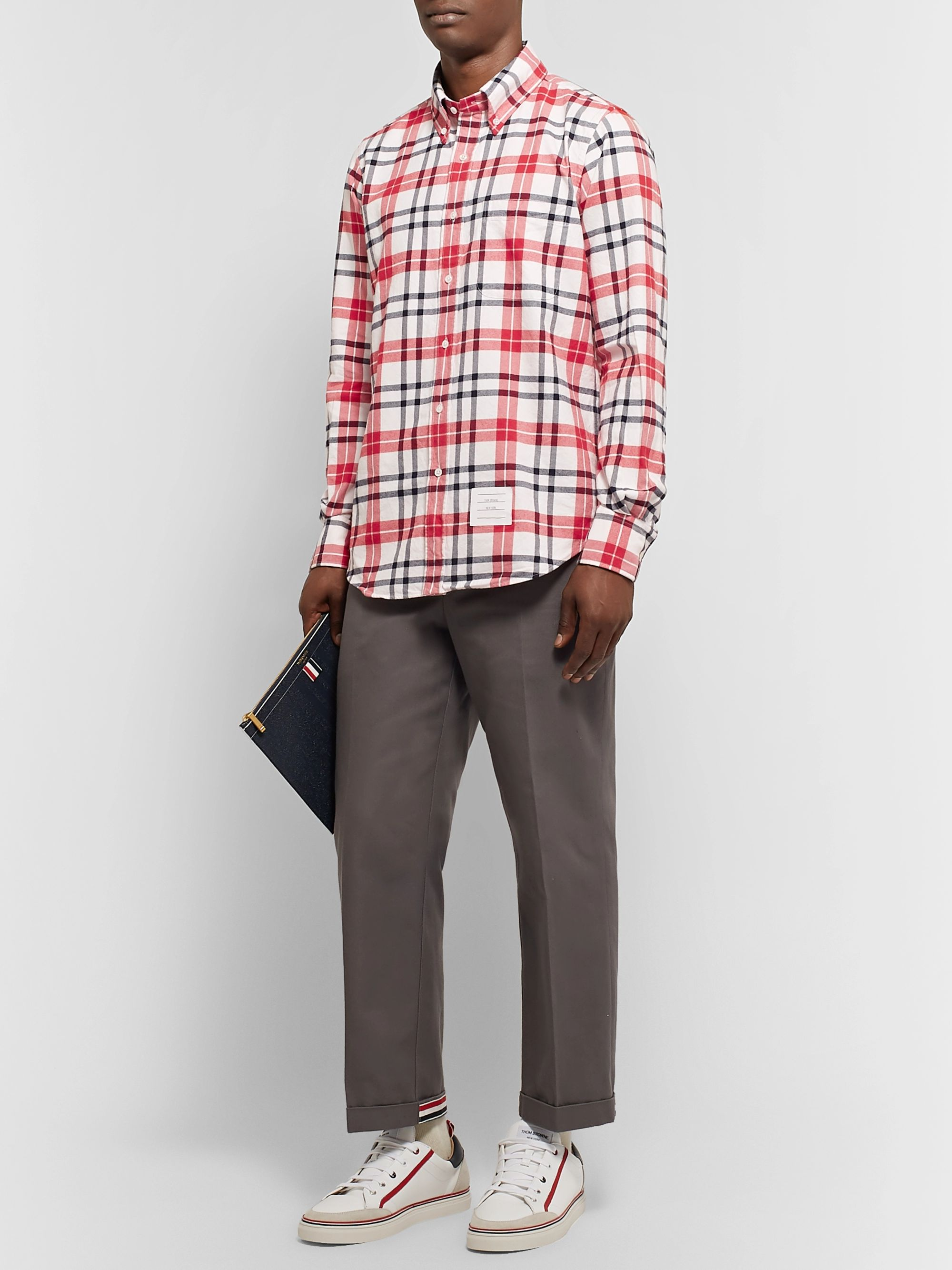 Thom Browne Button-Down Collar Checked Cotton-Flannel Shirt