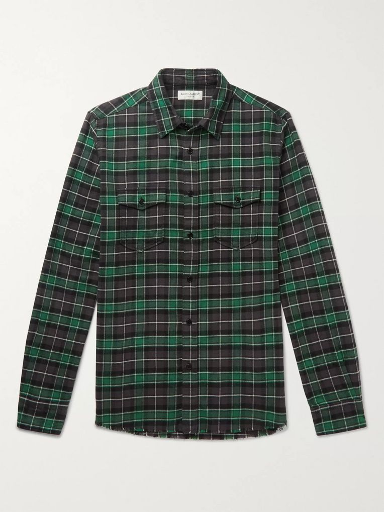 SAINT LAURENT Distressed Checked Cotton-Flannel Shirt