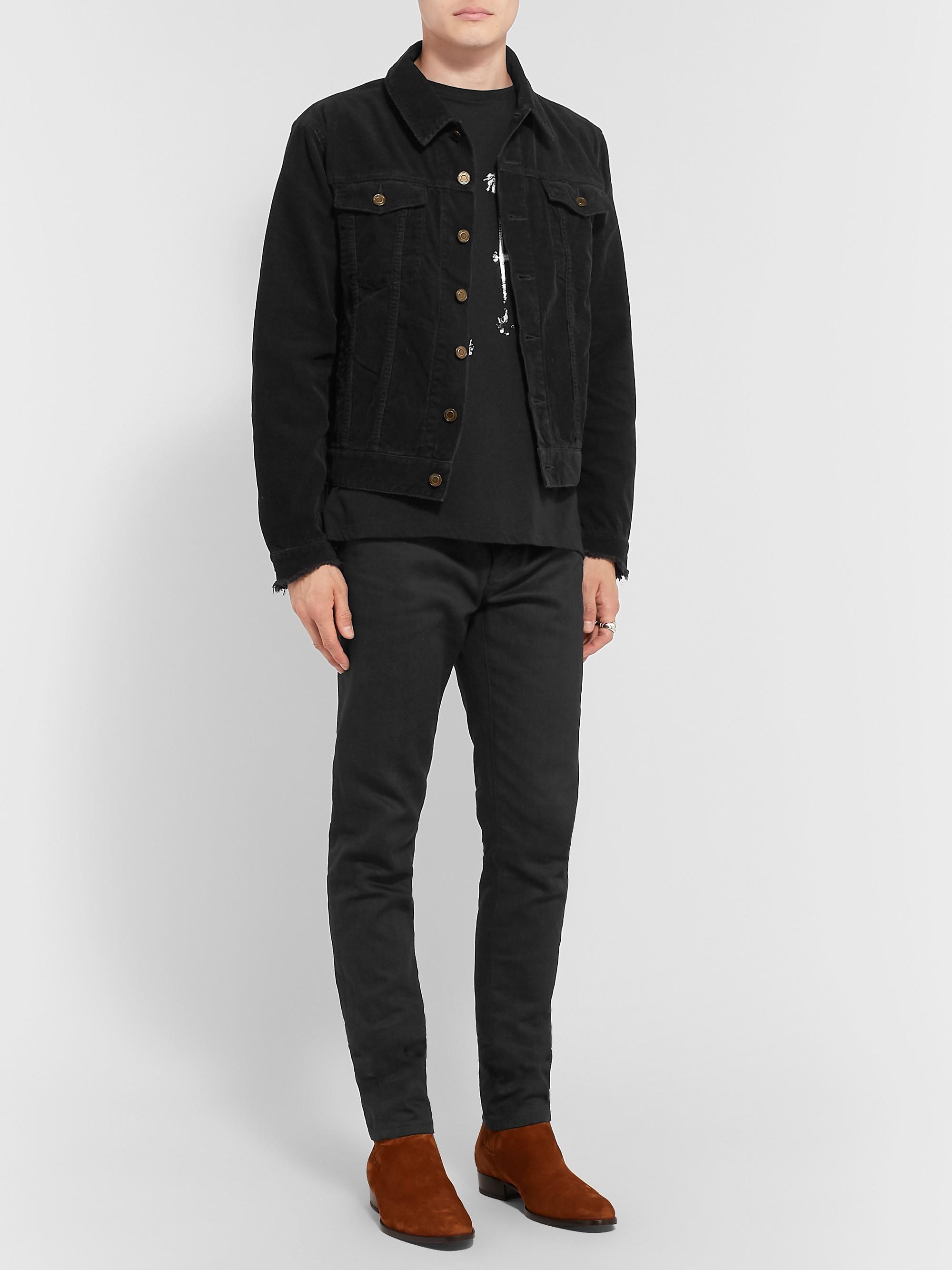 39bc5d11cfd Black Slim-Fit Distressed Cotton-Corduroy Jacket | SAINT LAURENT ...