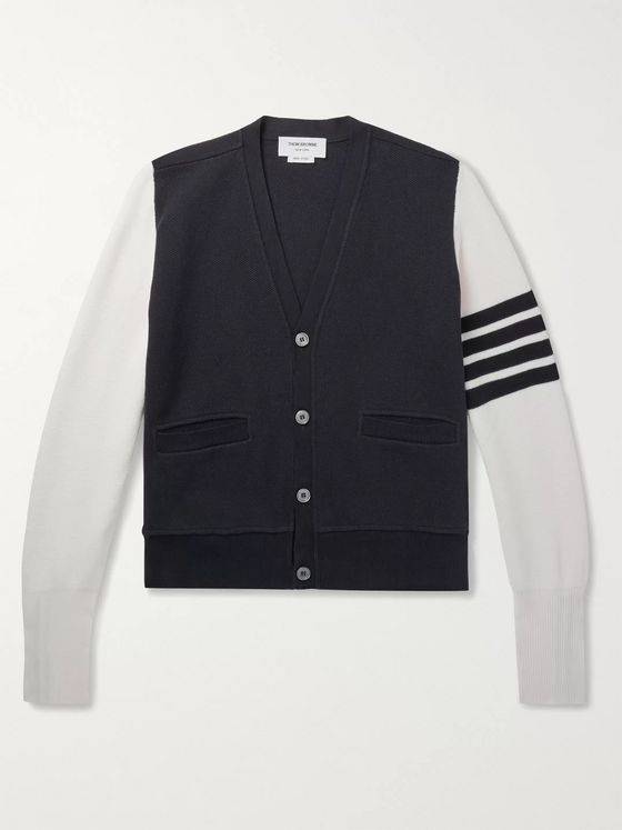 Thom Browne Slim-Fit Striped Colour-Block Cotton-Piqué Cardigan