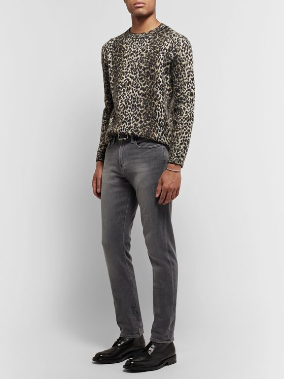 SAINT LAURENT Leopard-Jacquard Knitted Sweater
