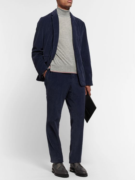 Thom Browne Grosgrain-Trimmed Cashmere Rollneck Sweater