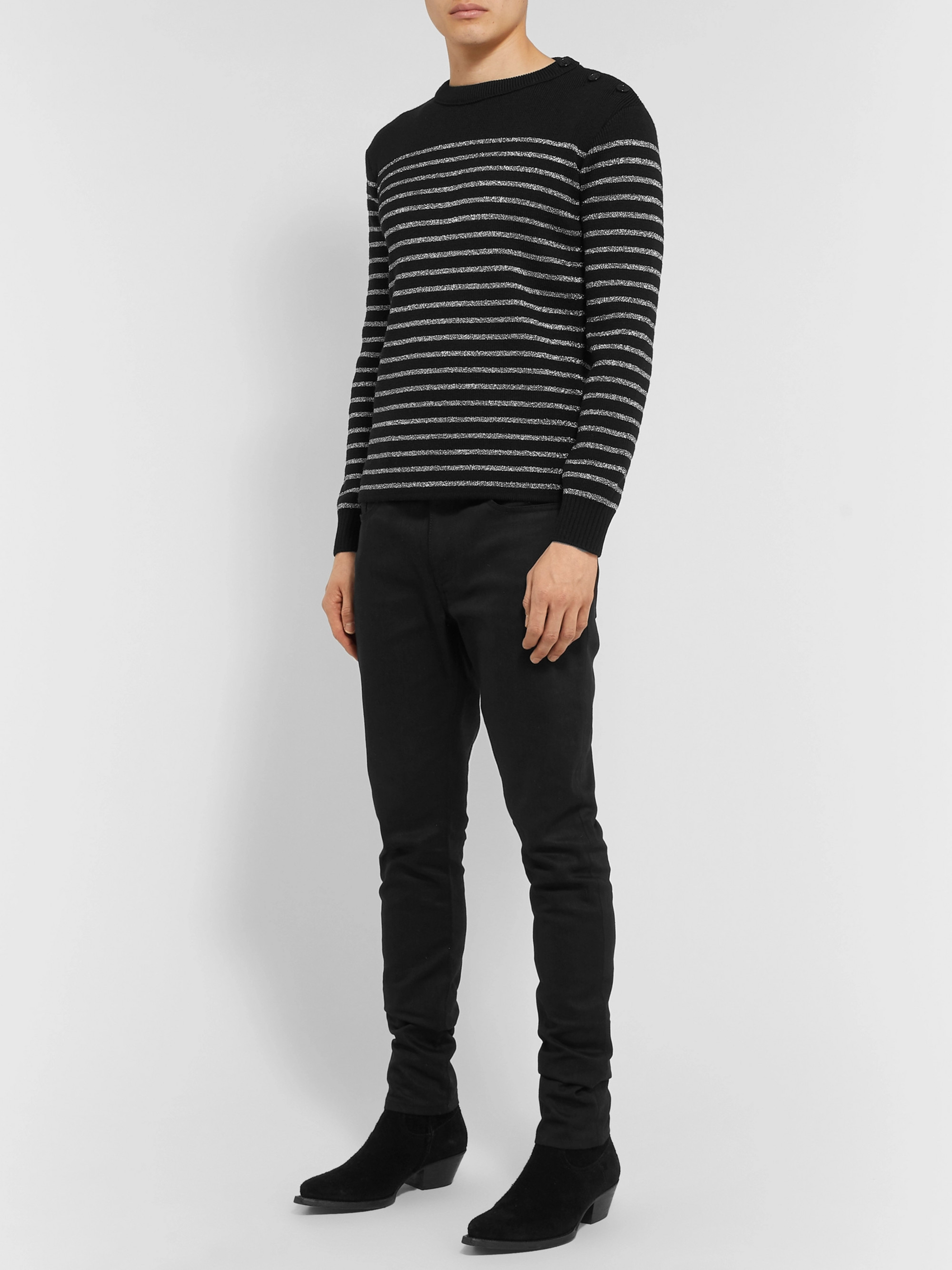 SAINT LAURENT Metallic Striped Knitted Sweater
