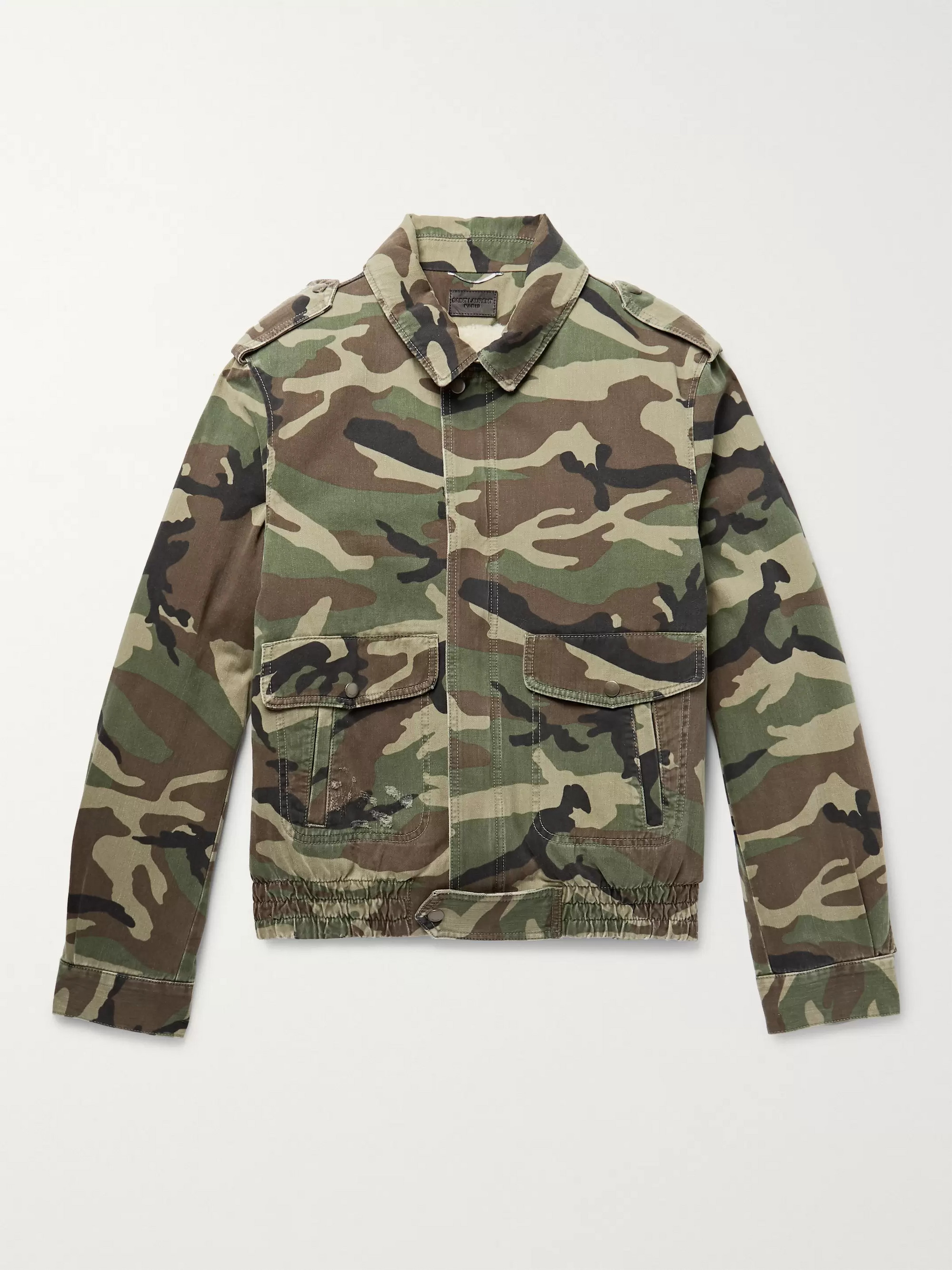 Shearling Lined Camouflage Print Cotton Twill Jacket by Saint Laurent