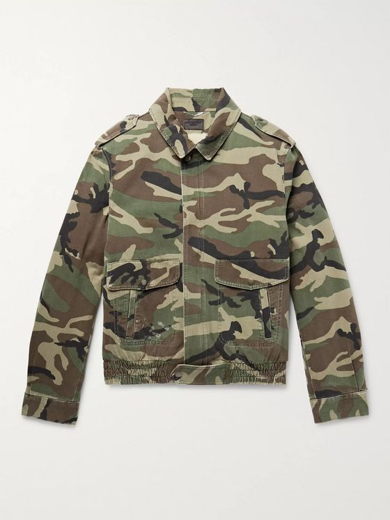 SAINT LAURENT Shearling-Lined Camouflage-Print Cotton-Twill Jacket