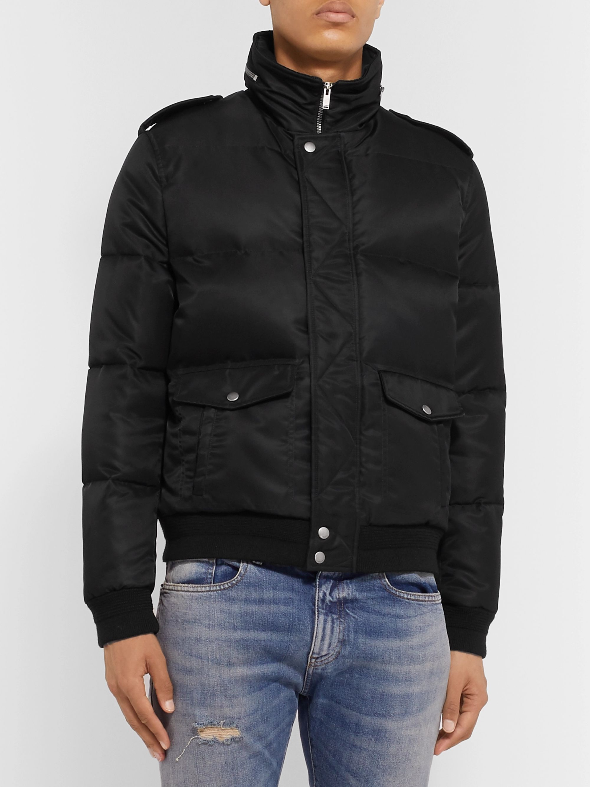SAINT LAURENT Quilted Shell Hooded Down Jacket