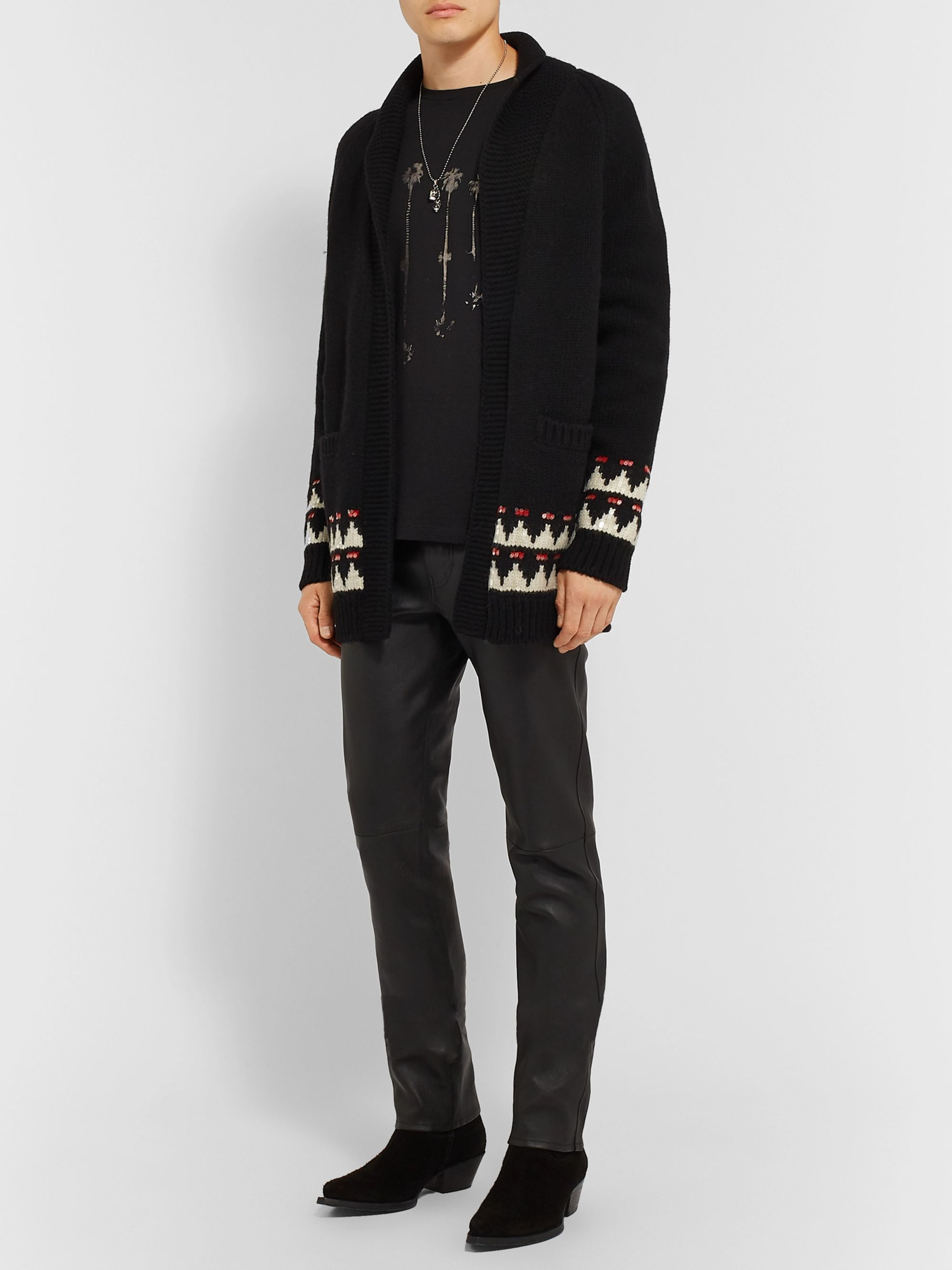 SAINT LAURENT Sequin-Embellished Intarsia Wool Cardigan
