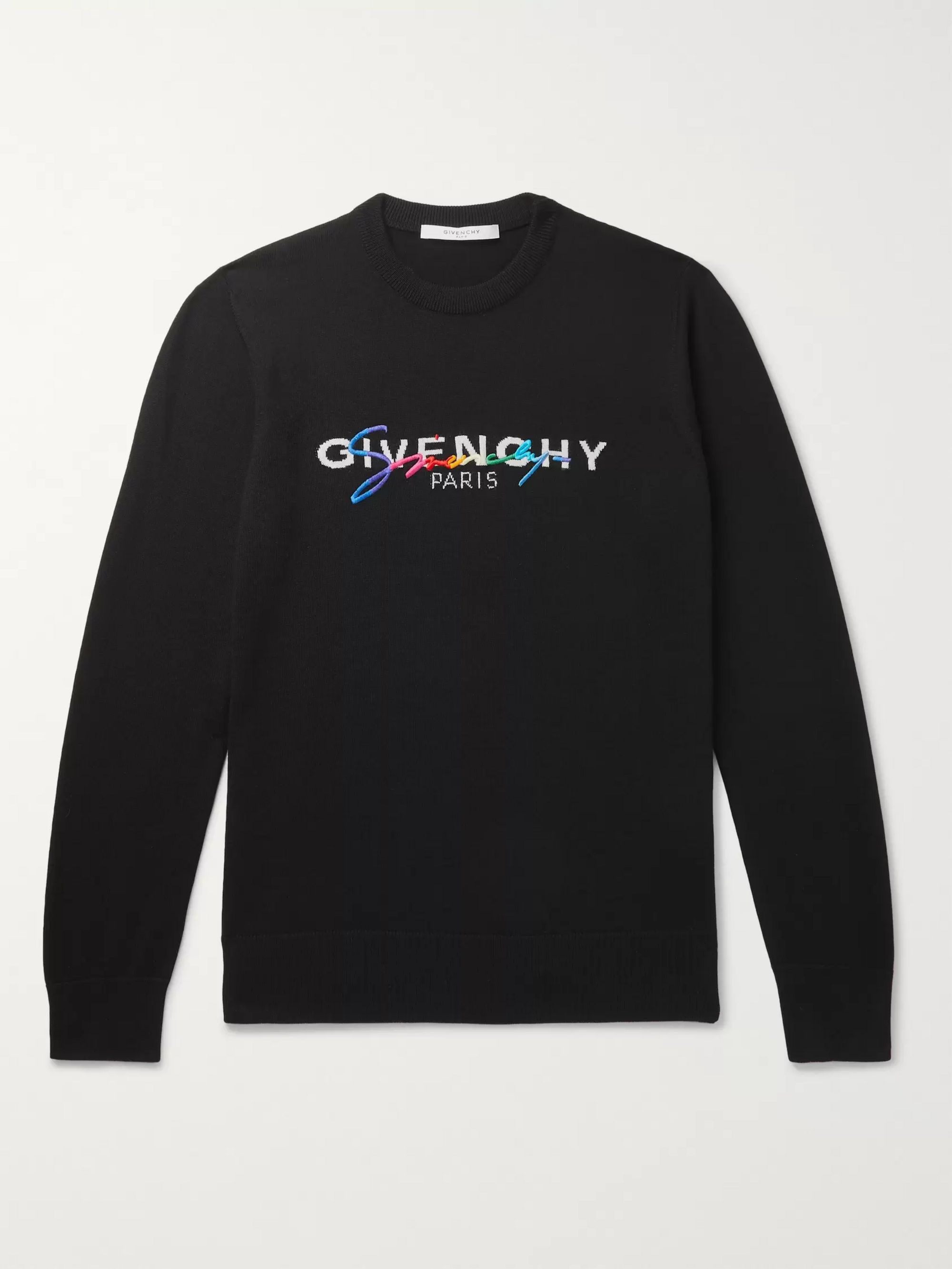 Givenchy Slim-Fit Logo-Embroidered Wool Sweater