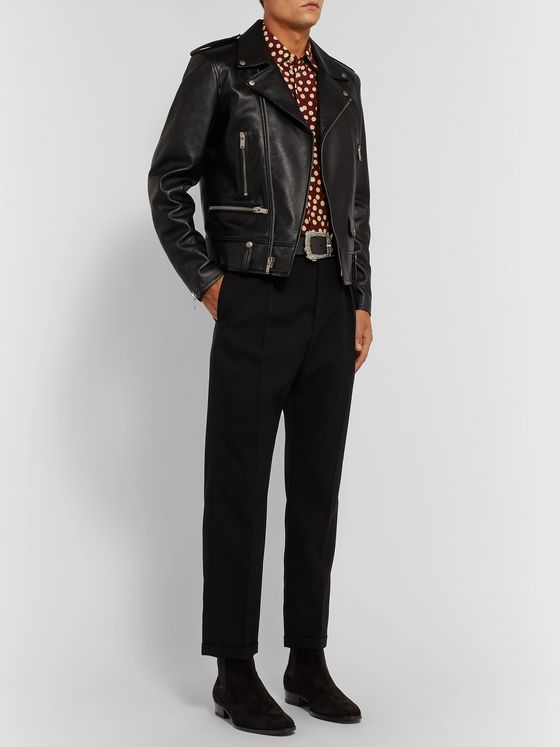 SAINT LAURENT Polka-Dot Silk Crepe de Chine Shirt