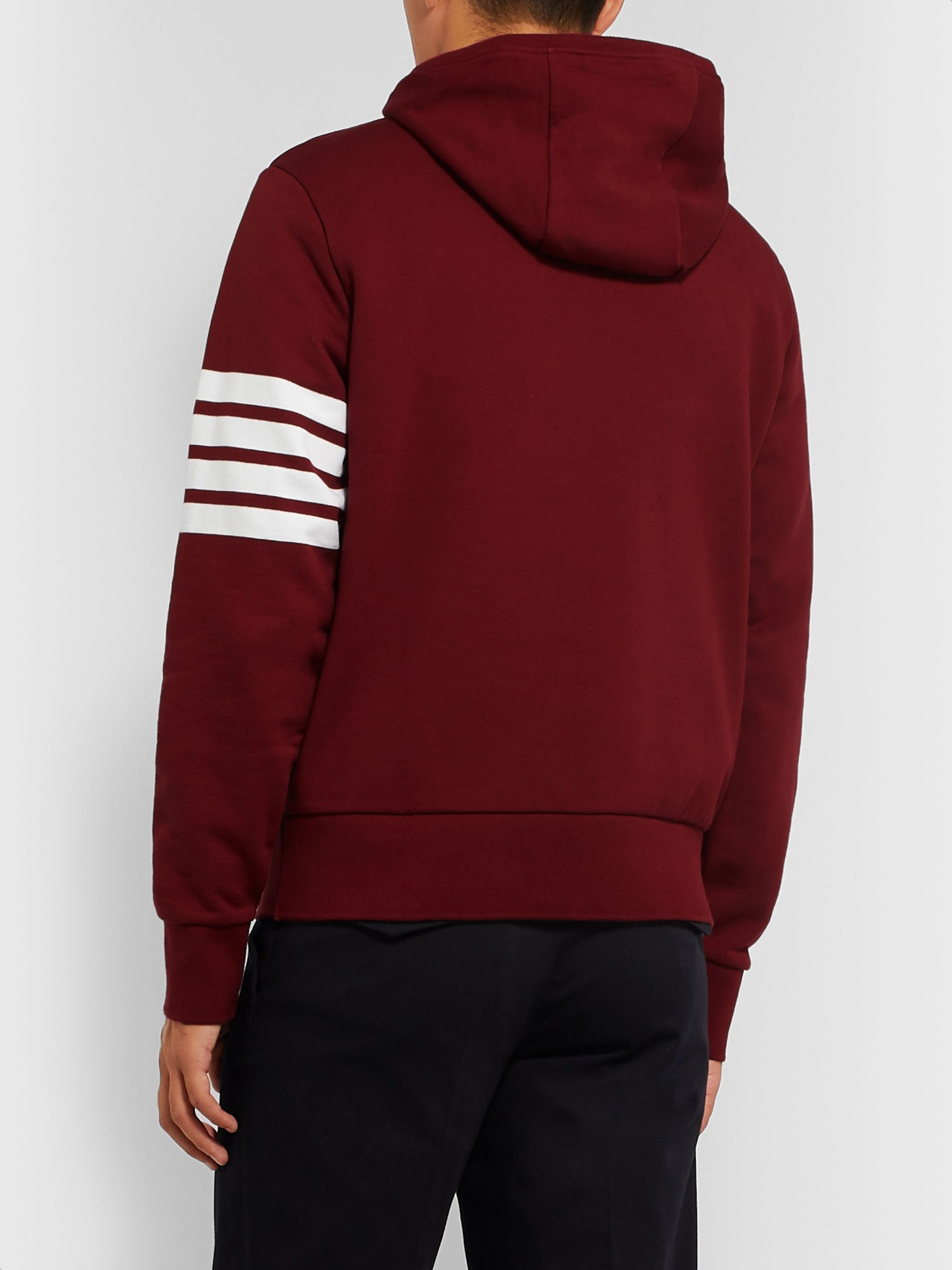 Thom Browne Striped Loopback Cotton-Jersey Hoodie