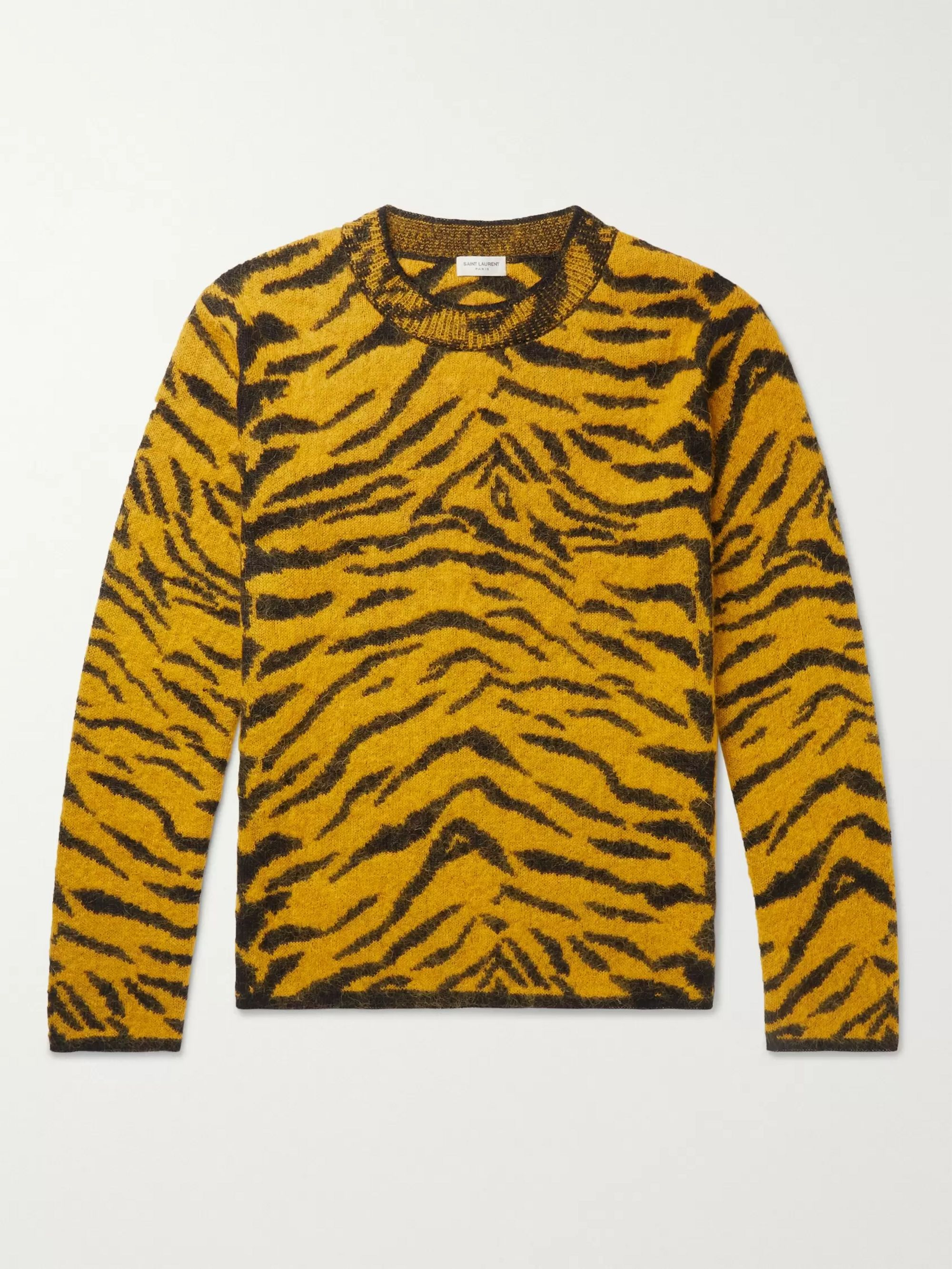 SAINT LAURENT Slim-Fit Tiger-Intarsia Wool-Blend Sweater