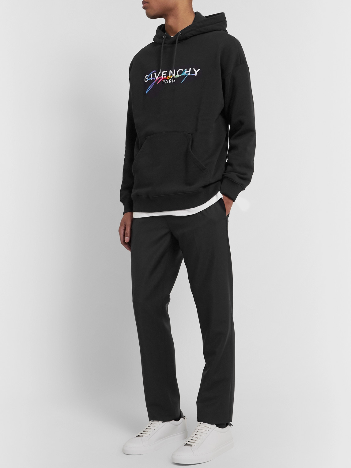 Givenchy Tops LOGO-EMBROIDERED LOOPBACK COTTON-JERSEY HOODIE