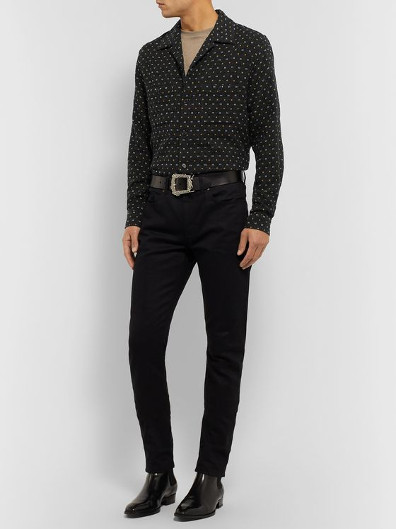 SAINT LAURENT Camp-Collar Embroidered Wool-Blend Shirt