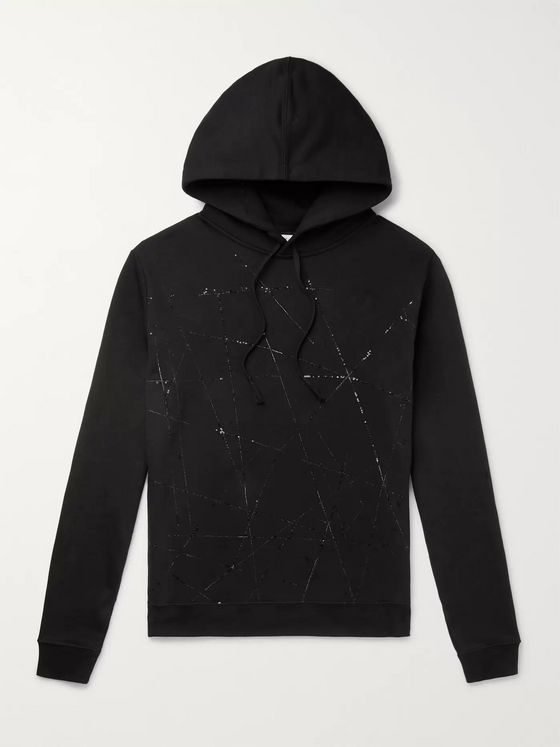 SAINT LAURENT Slim-Fit Embroidered Loopback Cotton-Jersey Hoodie
