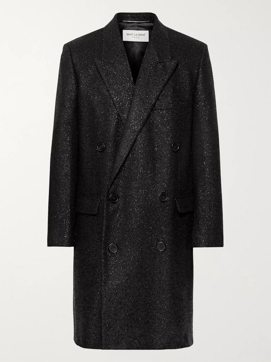 SAINT LAURENT Metallic Woven Double-Breasted Overcoat