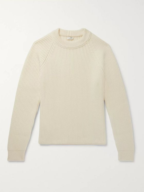 SAINT LAURENT Ribbed Wool and Cashmere-Blend Sweater