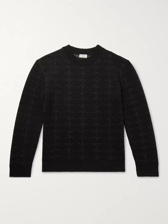SAINT LAURENT Metallic Wool-Blend Jacquard Sweater