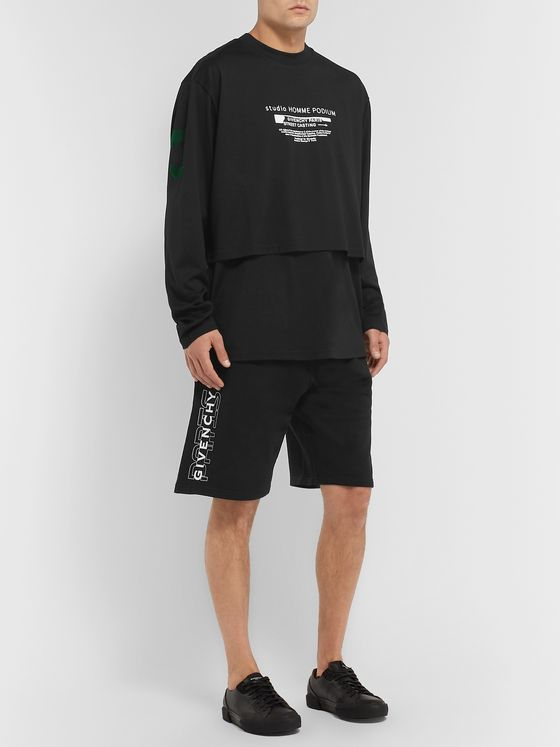 Givenchy Wide-Leg Logo-Print Loopback Cotton-Jersey Shorts