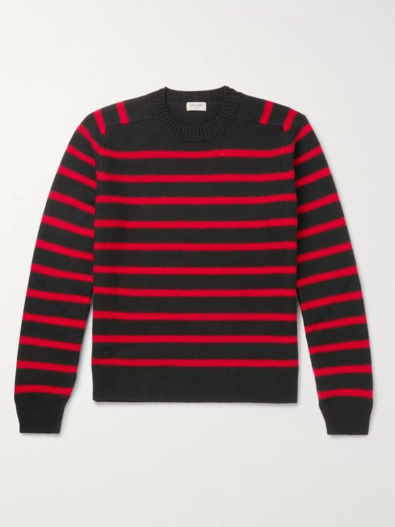 SAINT LAURENT Slim-Fit Striped Virgin Wool Sweater