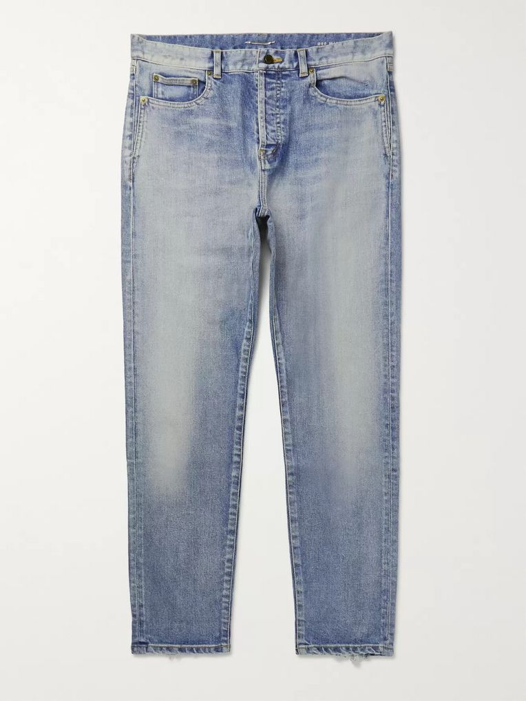SAINT LAURENT Skinny-Fit Distressed Denim Jeans