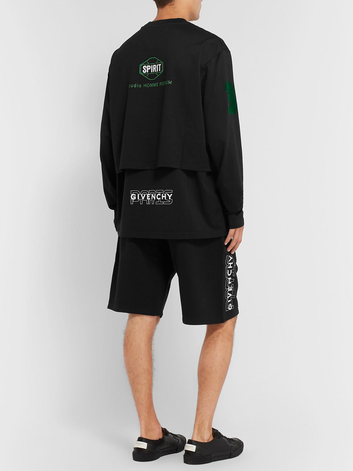 Givenchy T-shirts LOGO-PRINT LAYERED COTTON-JERSEY T-SHIRT