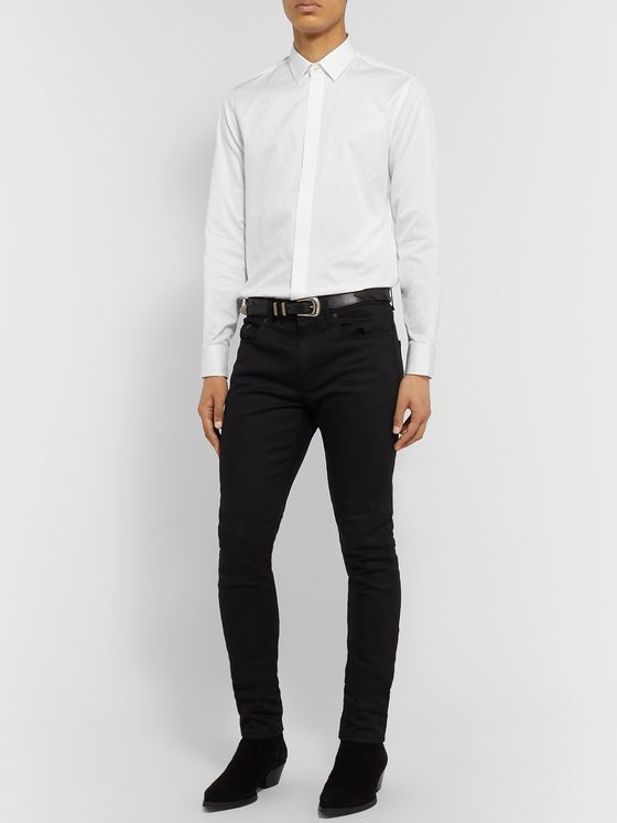SAINT LAURENT Printed Cotton-Poplin Shirt
