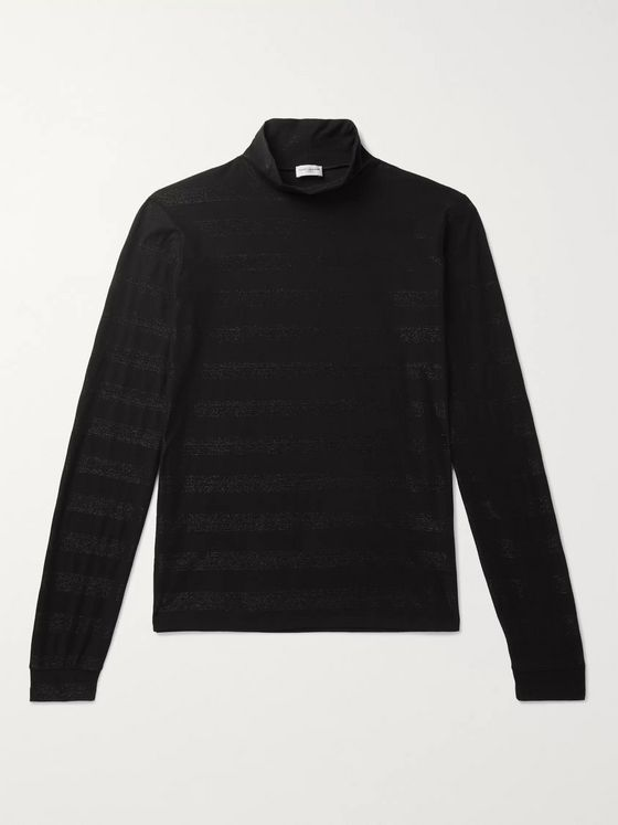 SAINT LAURENT Slim-Fit Metallic Striped Cotton-Blend Rollneck Sweater