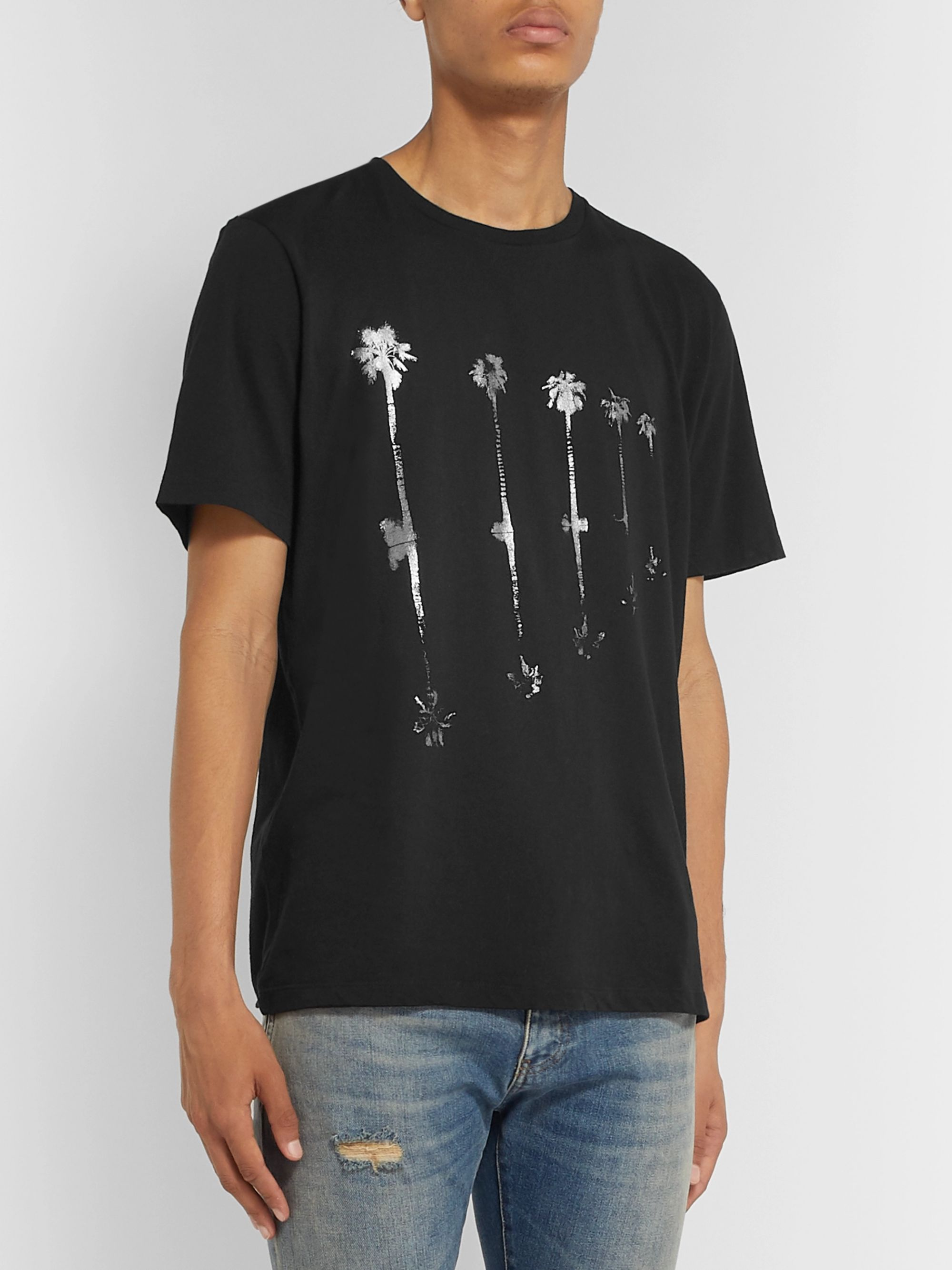SAINT LAURENT Metallic Printed Cotton-Jersey T-Shirt