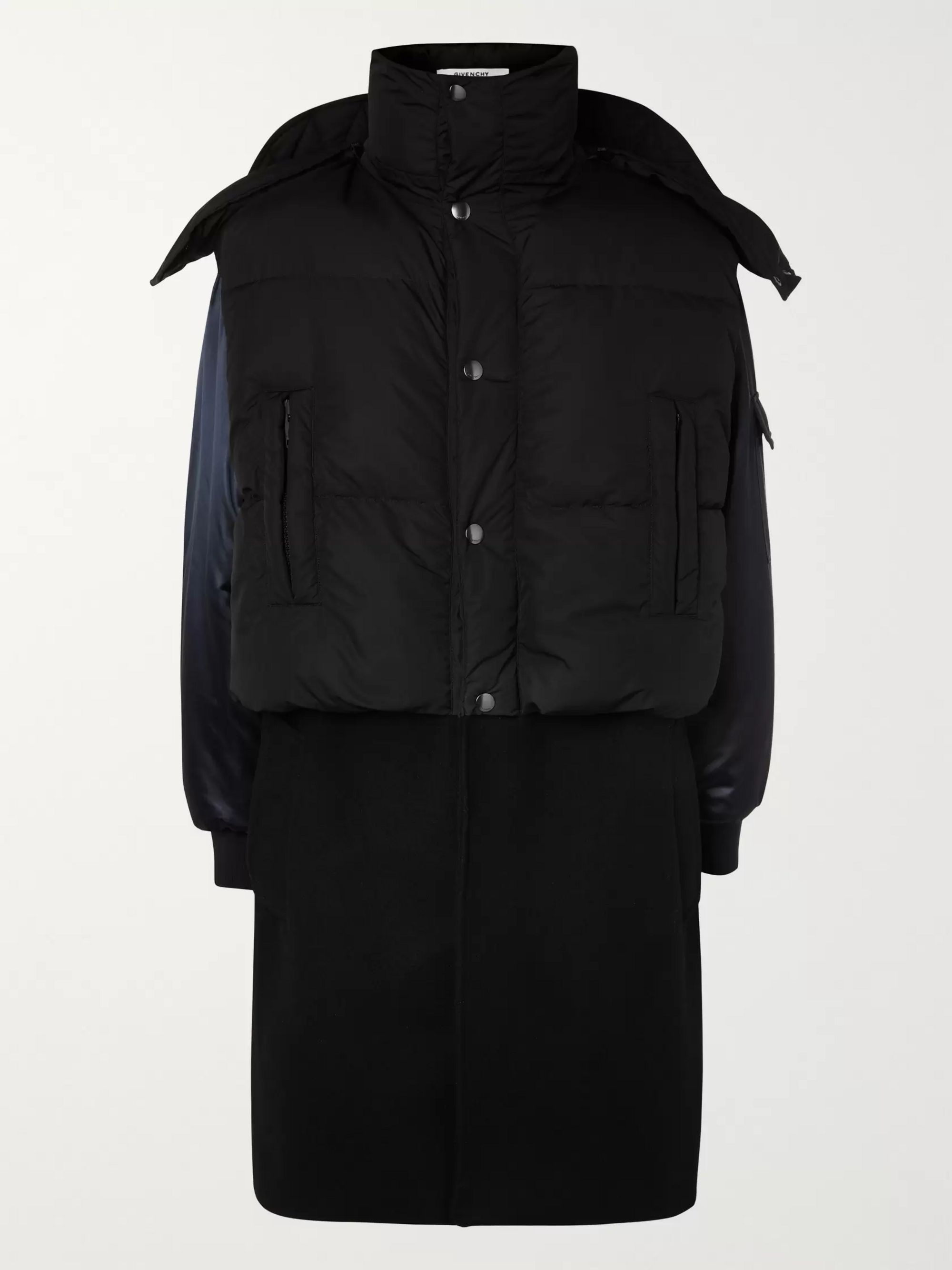 Givenchy Panelled Quilted Shell, Satin and Wool Hooded Coat