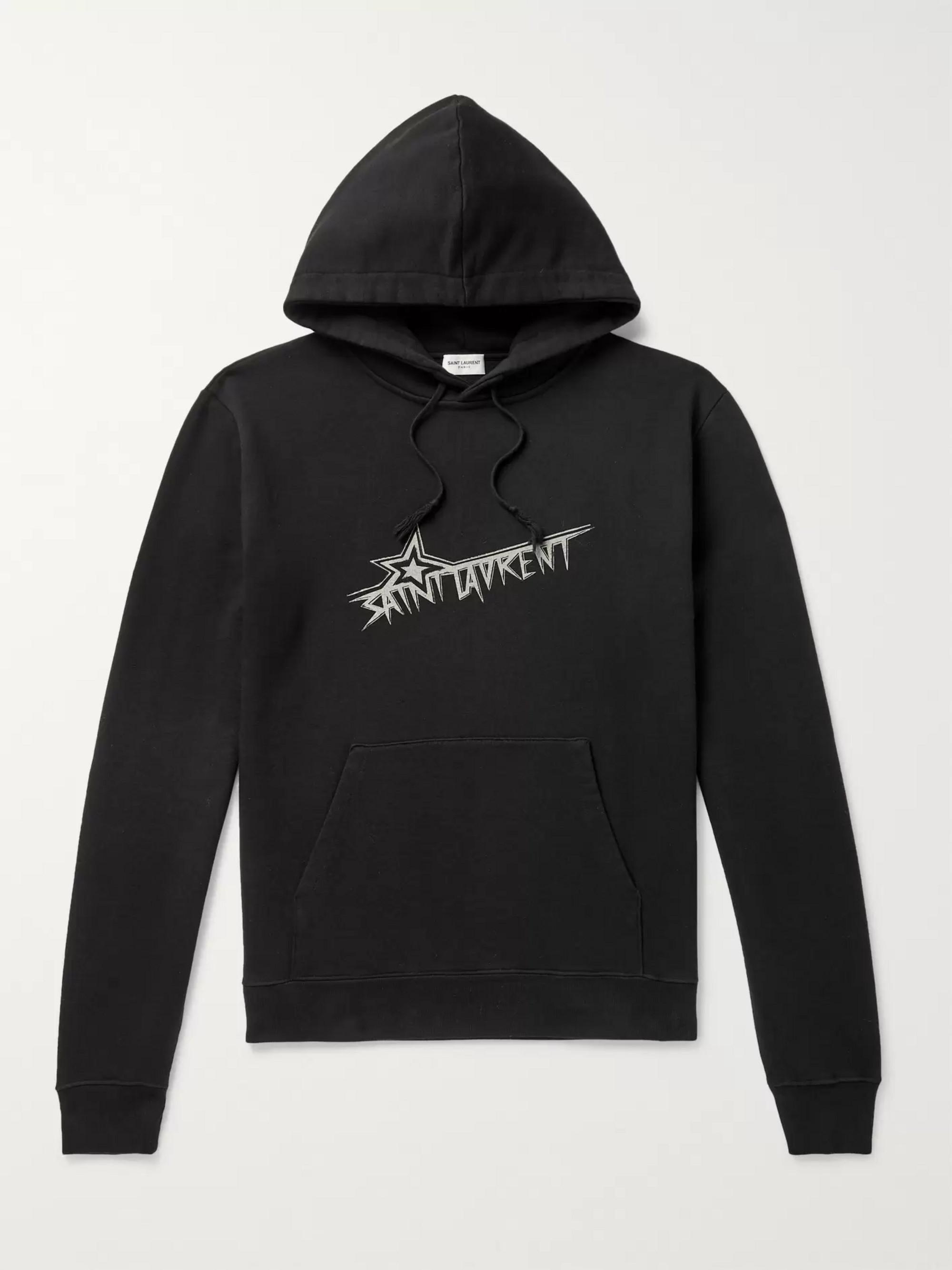 b0d1707c70a Black Logo-Print Loopback Cotton-Jersey Hoodie | SAINT LAURENT | MR ...