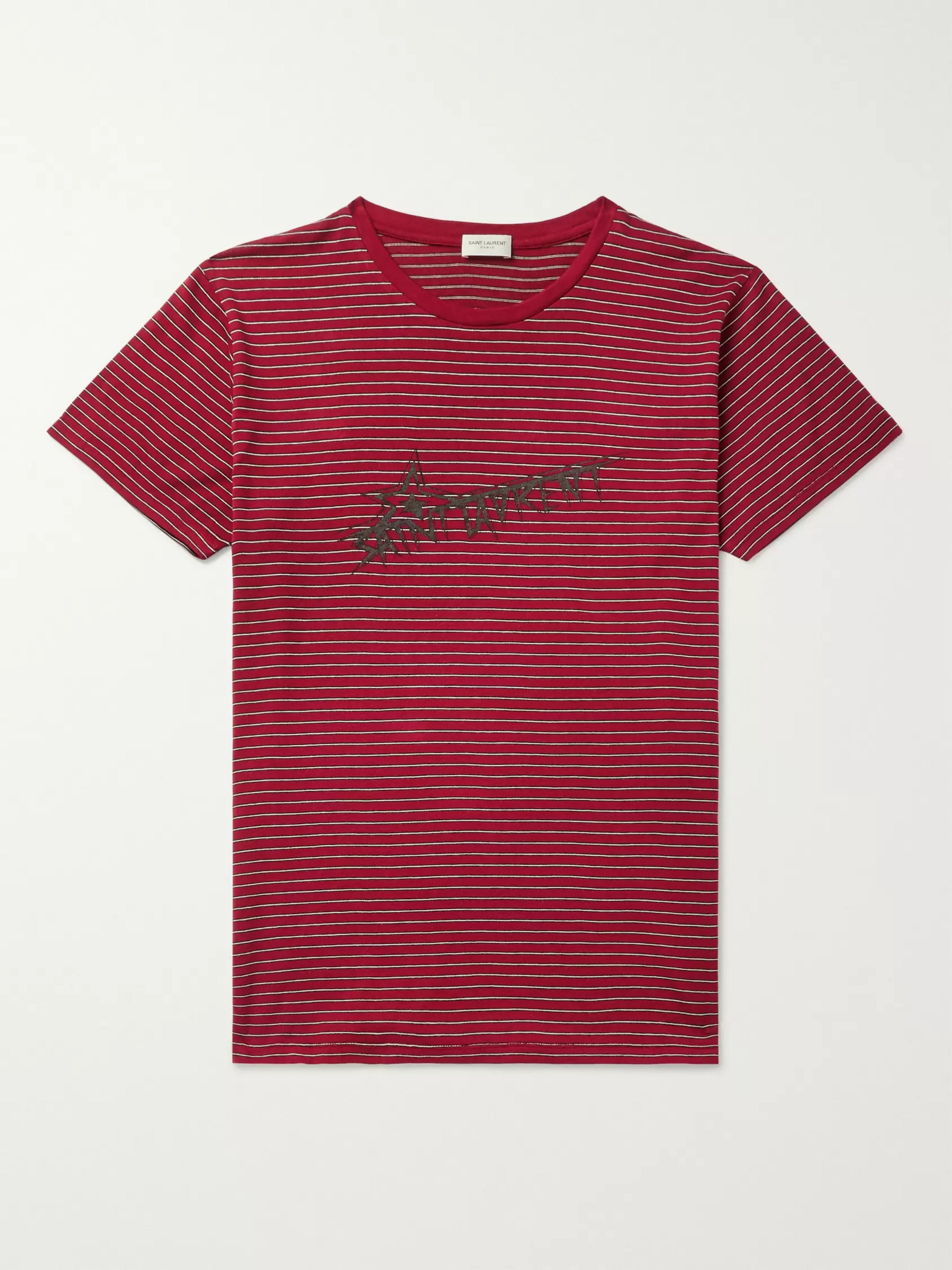 2b4df1e1768 SAINT LAURENT Logo-Print Striped Cotton-Jersey T-Shirt
