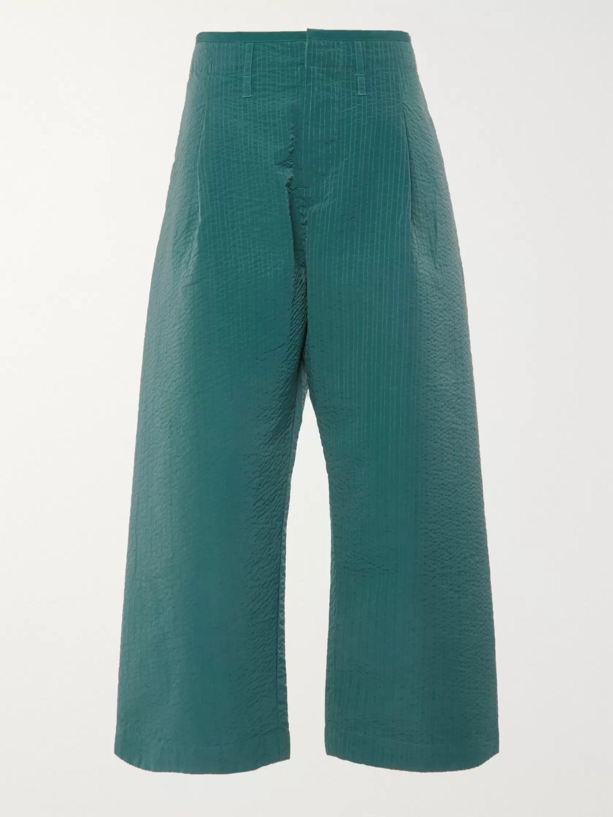 Cropped Wide Leg Seersucker Trousers by Craig Green