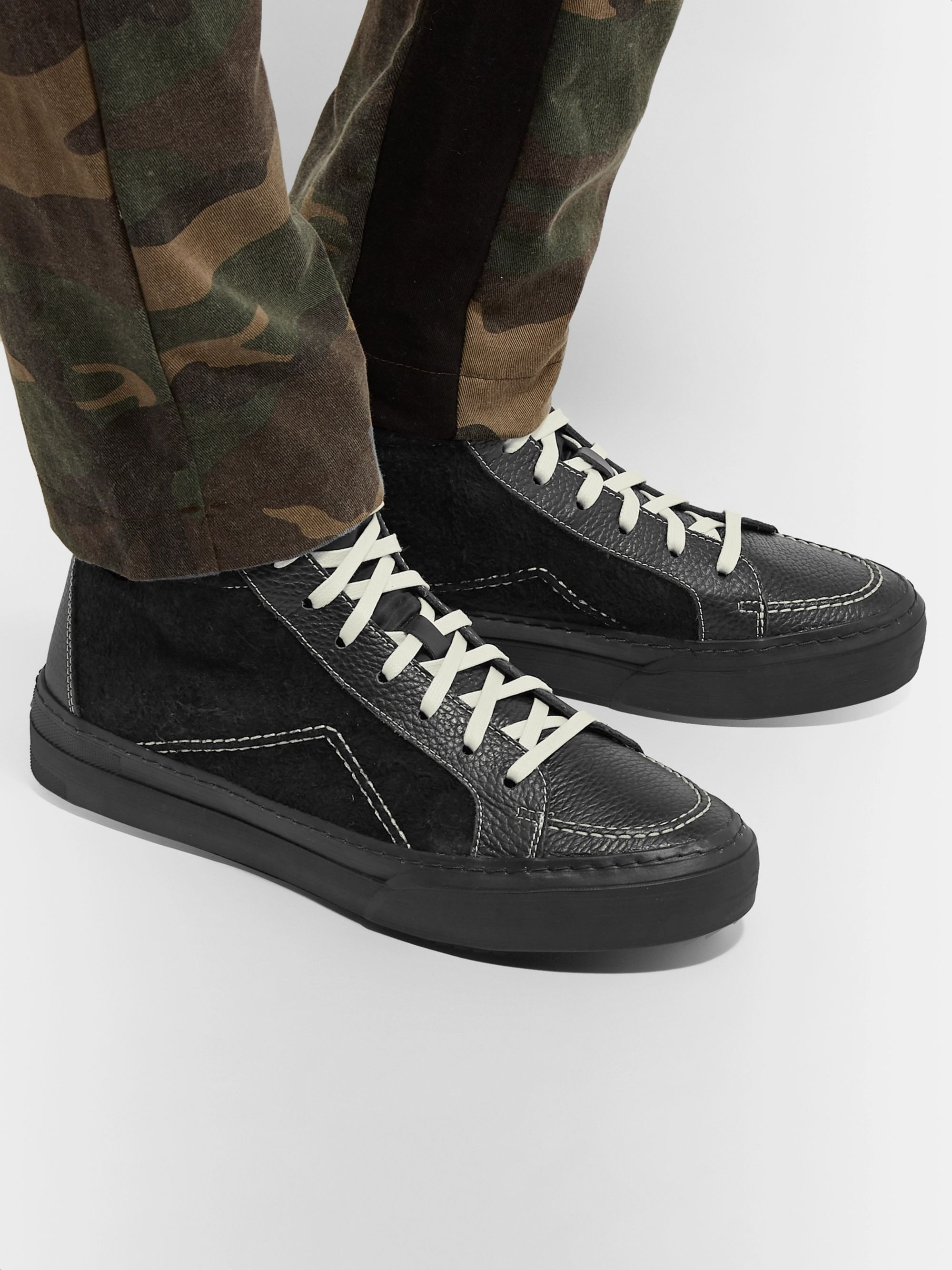 Rhude V1 Leather-Trimmed Nylon High-Top Sneakers