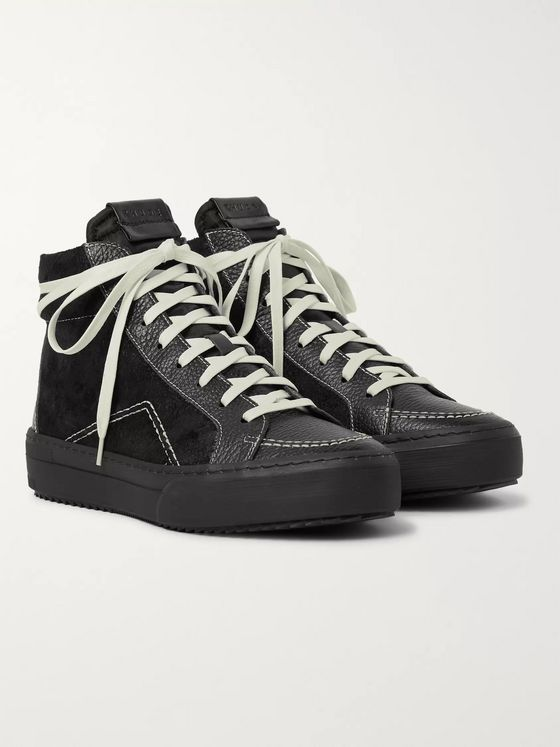 Rhude RH V1 Full-Grain Leather and Suede High-Top Sneakers