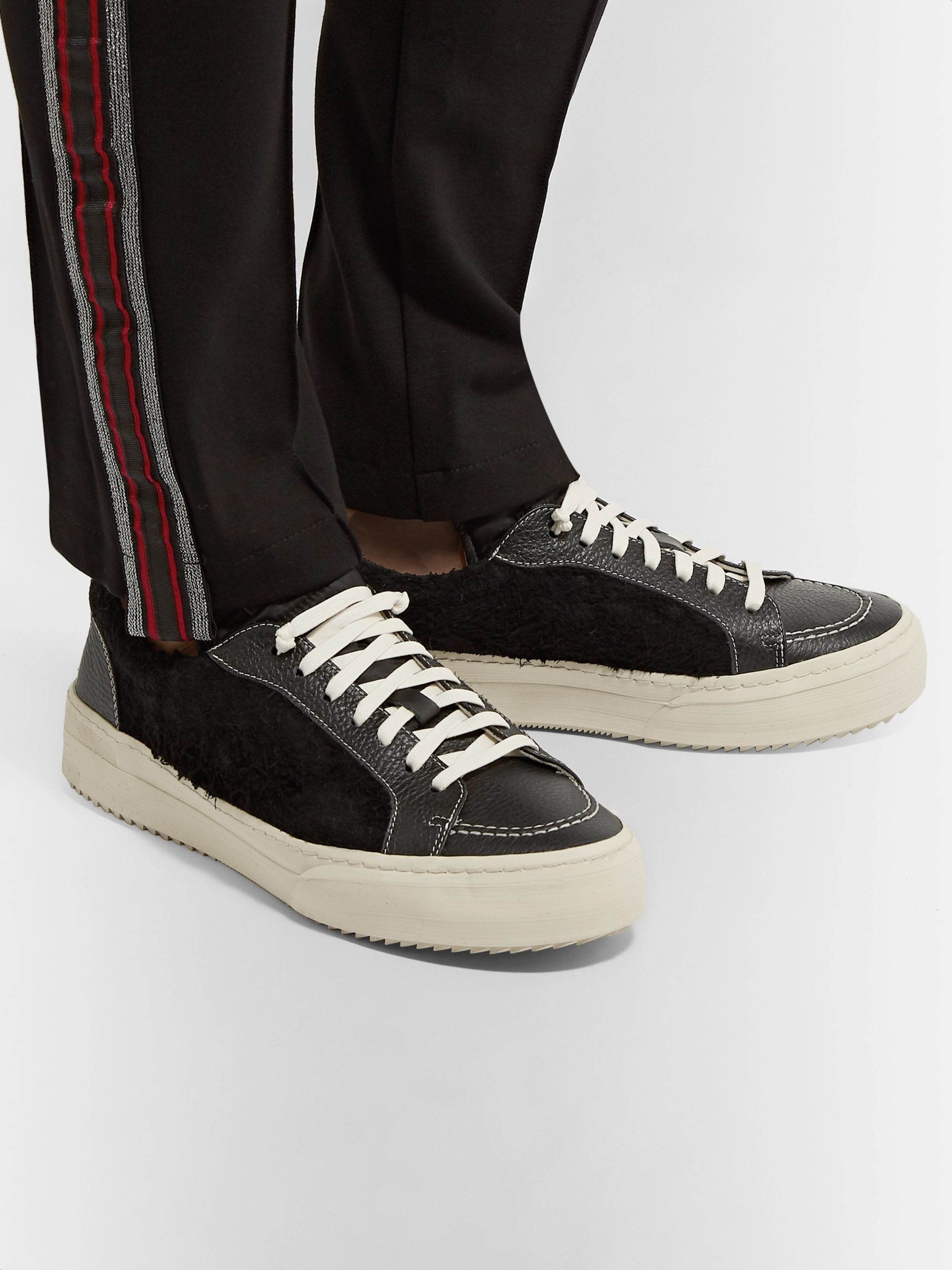 Rhude RH V1 Full-Grain Leather and Suede Sneakers