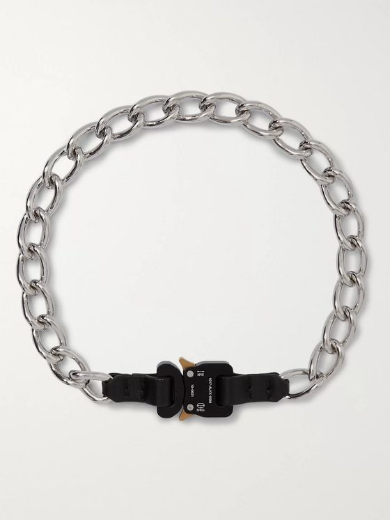 1017 ALYX 9SM Leather-Trimmed Silver-Tone Necklace