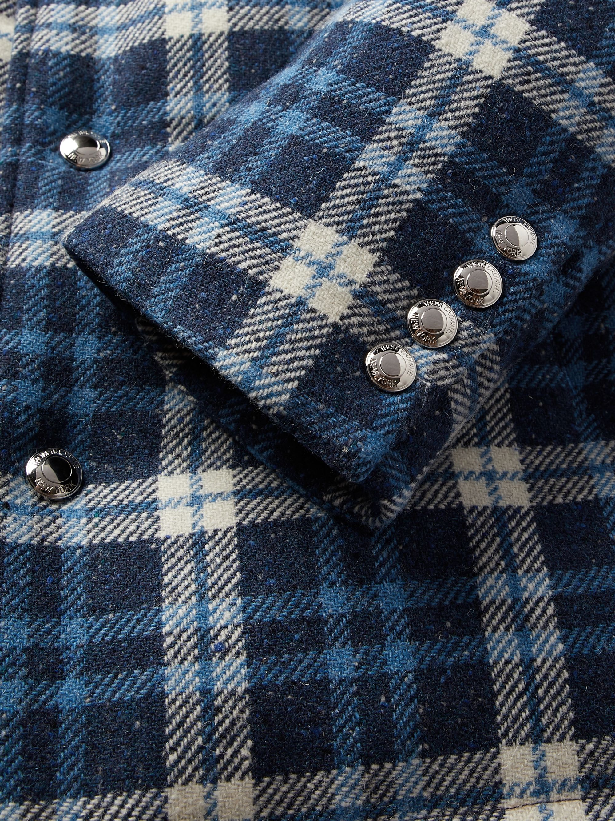 Thom Browne Checked Mélange Wool Down Coat