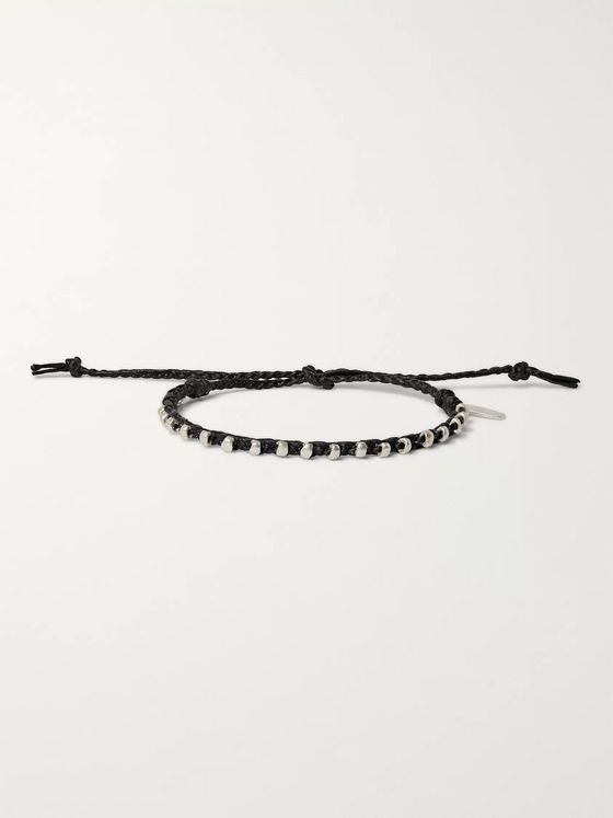 Paul Smith Friendship Waxed Cotton and Silver-Tone Bracelet