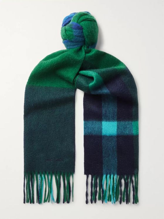 Paul Smith Amanda Fringed Checked Cashmere Scarf