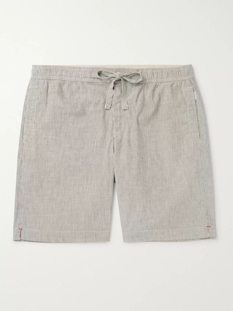 Orlebar Brown Harton Wide-Leg Striped Stretch Cotton and Linen-Blend Drawstring Shorts