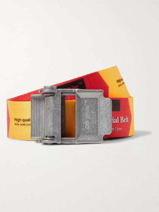 Off-White 3.5cm Red and Yellow 2.0 Industrial Logo-Print Webbing Belt