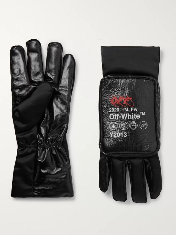 Off-White Printed Nylon and Leather Gloves