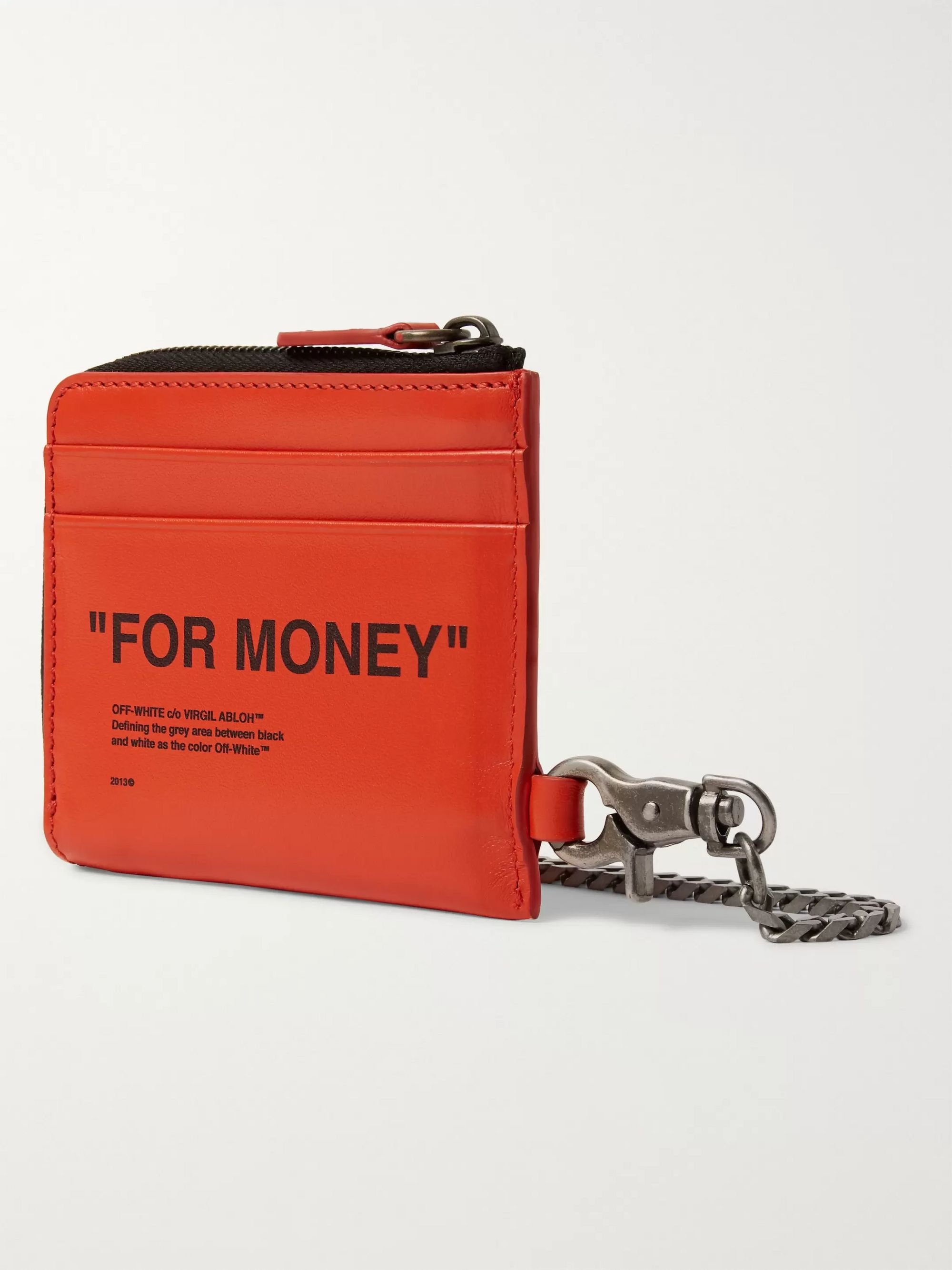 Off-White Printed Leather Zip-Around Chain Wallet